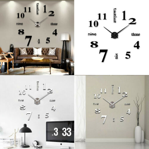 Modern DIY Large Wall Clock 3D Mirror Surface Sticker Big Nu