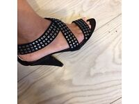 Black Sued shoes Size 4 by Faith
