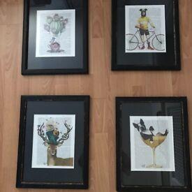 4X Fab Funky Framed Book Prints