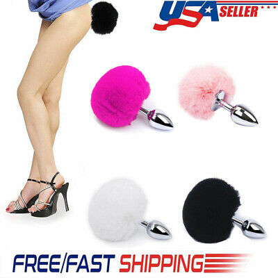 Adult Fluffy Fur Bunny Rabbit Tail Plug Cosplay Metal Stopper Butt Toy Tail US