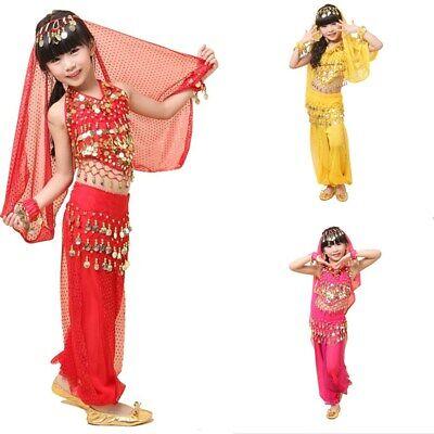 Kinder Mädchen Bauchtanz Kostüm Set Indian Dancewear Performance Top (Tanz Performance Kostüm Kinder)