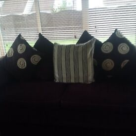 2 Chocolate Brown and Cream Sofas for Sale