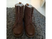 Dr Martens Brown Soft Leather Boots