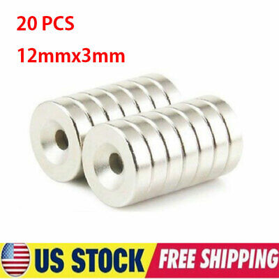 20pcs Strong Countersunk Ring Magnets Rare Earth Neodymium N52 12mmx3mm 4mm Hole