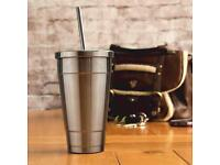 Insulated Stainless Steel Cold Cup With Lid And Straw 16oz / 470ml.