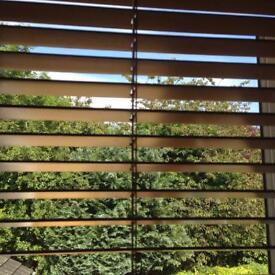 "Wooden 10mm slat blind in antique pine colour 39"" x 45"" £10"