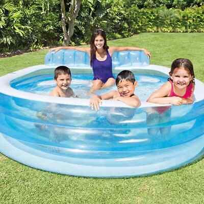 Swim Center Family Lounge Pool 224 x216x76 cm Lying Playing Summer Inflatable UK