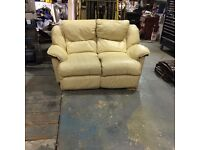 Leather remote controld reclining couch