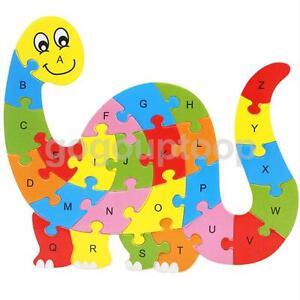 Wooden ABC Alphabet Jigsaw Dinosaur Puzzle Children Educational Learning Toy