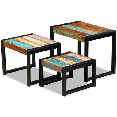vidaXL Solid Reclaimed Wood Nesting Coffee Table Set 3 Piece Side End Tables