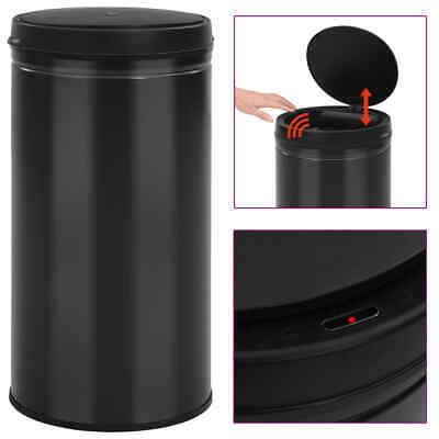 vidaXL Automatic Sensor Dustbin 60L Carbon Steel Black Kitchen Waste Dust Bin