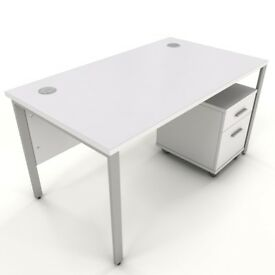 8 -WHITE - BENCH DESKS - 1200MM X 800MM / MOBILE PEDS - AVAILABLE TOO - VGC