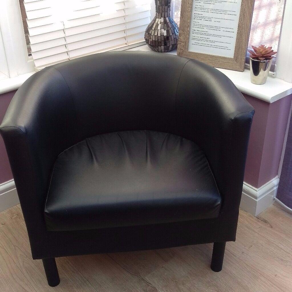 Ikea Black Faux Leather Tub Chair In Belper Derbyshire Gumtree