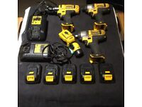 Dewalt 10.8v Set impact wrench drill screwdriver x5 batteries torch x2 chargers