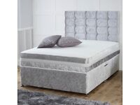 【❋💖❋ BRAND NEW ❋💖❋ 】DOUBLE CRUSHED VELVET DIVAN BED BASE WITH DEEP QUILTED MATTRESS