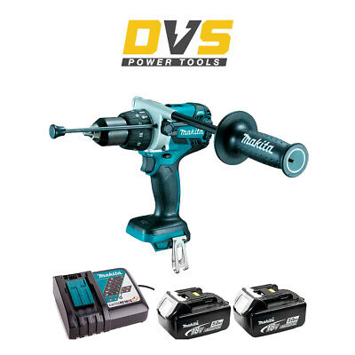 Makita DHP481Z 18v LXT Brushless Combi Drill with 5.0Ah Batteries BL1850 Charger