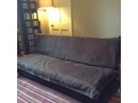 John Lewis Sofa / Futon with brown suede detachable cover, £30.