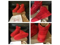 Christian Louboutin Red Suede High Top Loubikick Size 7 Mens Boys Trainers Sneakers Footwear Loubs