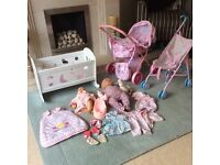 2x Baby Annabell dolls, cot, pram, pushchair and accessories