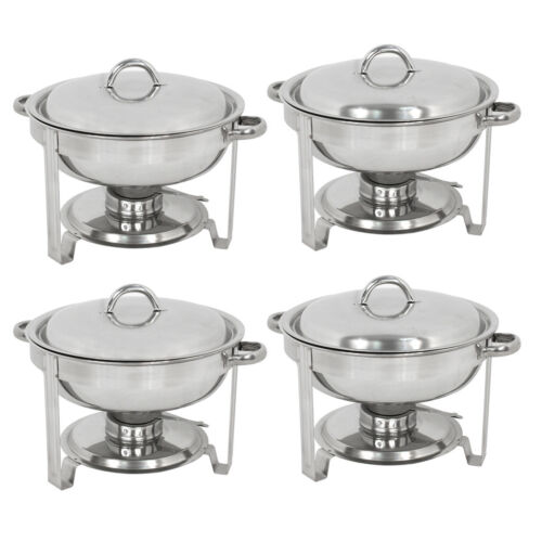 Chafing Dish 5 Quart Stainless Steel Full Size Tray Buffet Catering 4 Pack Round Business & Industrial