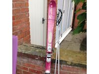 Pink skis with poles. 'Exclusive Dynastar' DA7VF20. Size 158.