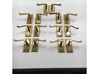 Polished Brass Effect Internal Scroll Latch Door Handles