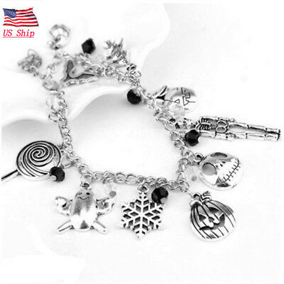 US! Nightmare Before Christmas Jack Skellington Sally Bracelet Gothic Charm Gift