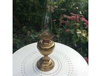 Oil lamp with brass finish. Duplex wick system. Nice decorative vintage piece