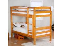 Solid wooden bunk bed with 2 mattress