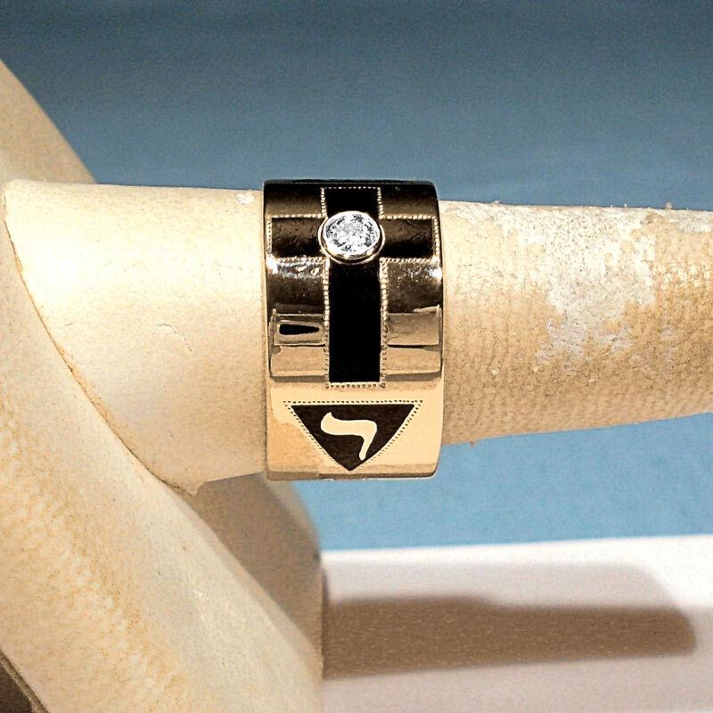 SOLID 14K YELLOW GOLD & DIAMOND MASONIC BAND RING ~ SIZE 10 1/2