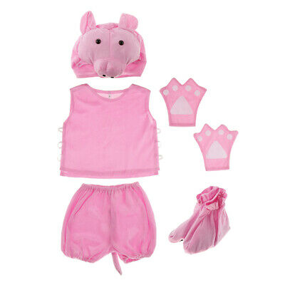 Kinder Zoo Tier Kostüm Set Schwein Hut Top Shorts Handschuhe Schuhe Party
