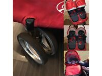 Baby Jogger City Mini Double, travel bag, belly bar, cosy toes, glider & carry cot