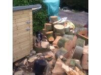 Seasoned and unseasoned firewood for sale by the cubic meter