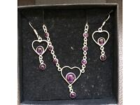 Silver 925 and Amethyst Heart Necklace Set