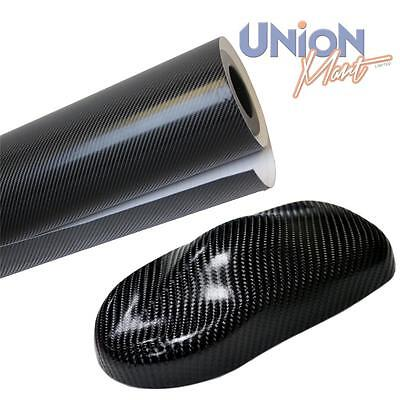 1520mm x 600mm Black 4D Carbon Fibre Vinyl Wrap Film  Bubble / Air Free
