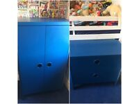 Boys blue wardrobe and chest of drawers