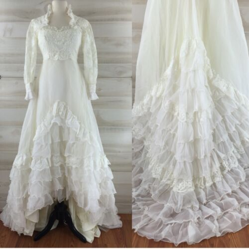 Vintage 60s 70s high neck long sleeve ruffled train wedding dress white lace XXS