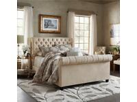 Double sleigh bed frame- cream/beige linen
