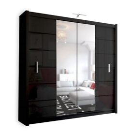 BRAND NEW LISBONA 2 DOOR SLIDING WARDROBE WITH FULL MIRROR IN BLACK AND WHITE 203cm WIDE