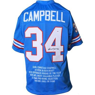 EARL CAMPBELL Signed/Auto Autographed Oilers Jersey BLUE STAT PSA Autographed