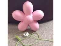 GIRLS BEDROOM IKEA WALL LIGHT PINK FLOWER