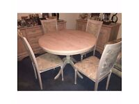 Extendable Beige Wood Table and Four Chairs Dining Set