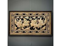 Attractive Very Large Vintage Oriental Sequin Framed Picture