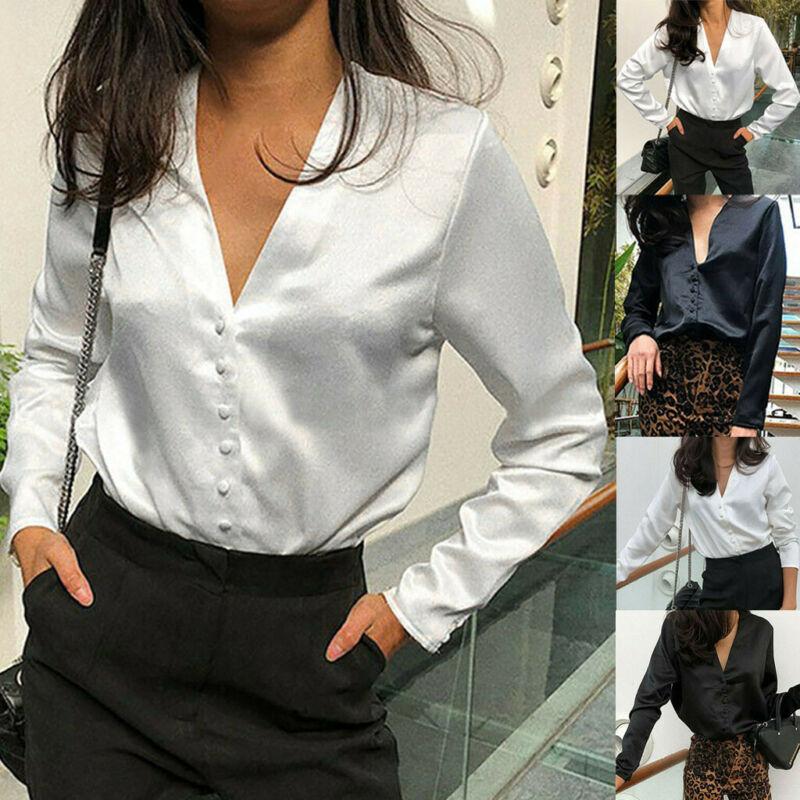 Women Shirt V-Neck Satin Blouse Long Sleeve Button Work Offi