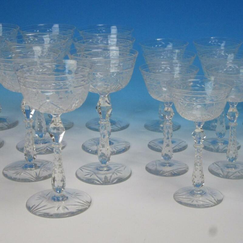 21 Wheel Cut Glass Stemware - 10 Champagne, 11 White Wine Glasses
