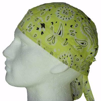 Head Fitted Cap (Fitted Bandana Yellow Paisley Durag Cap Head Wrap Sun Hat Boteh Beach  Bandanna)