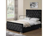 🔥🔥LONG LASTING BED🔥🔥 CHESTERFIELD CRUSHED VELVET DOUBLE BED FRAME SILVER, BLACK AND CREAM