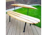 surf board garden bench