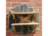 Handmade Rustic Shabby Chic Set of Shelves with Distressed Saltire Background