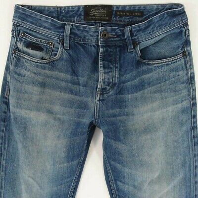 Mens SuperDry COPPERFILL LOOSE Relaxed Blue Jeans W34 L34